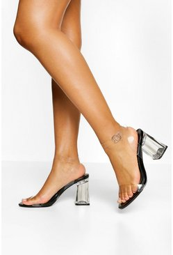 Black Clear Block Heel Two Parts