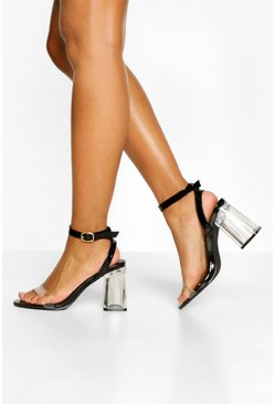 Black Ankle Strap Clear Block Heel Two Parts