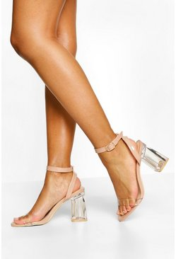 Nude Ankle Strap Clear Block Heel Two Parts