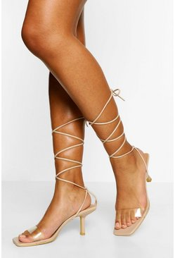 Nude Clear Strap Wrap Up Stiletto Heels