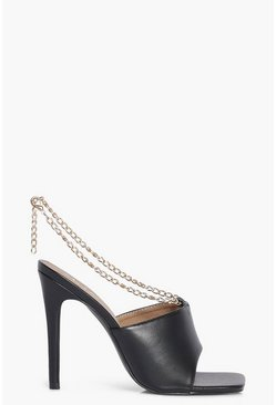 Chain Detail Square Toe Mules, Black noir