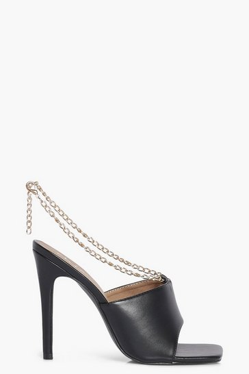 Black Chain Detail Square Toe Mules