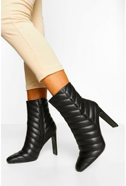 Black Padded Flat Heel Shoe Boots