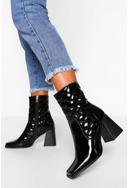 Black Quilted Patent Square Toe Shoe Boots