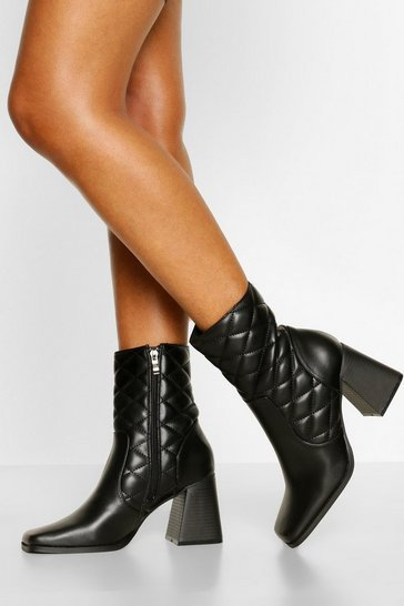 Black Quilted Square Toe Shoe Boots