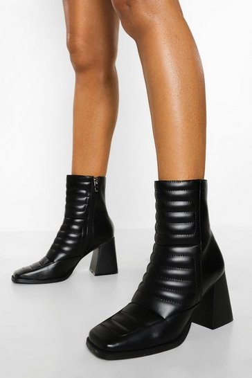 Black Padded Square Toe Shoe Boots