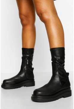Black Chunky Sole Sock Detail Biker Boots