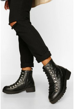Black Quilted Panel Chunky Hiker Boots