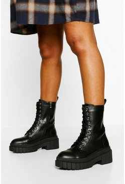 Black Chunky Sole Calf High Hiker Boots