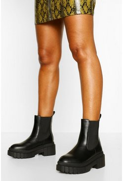 Black Chunky Sole Pull On Chelsea Boots