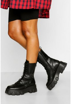 Black Chunky Platform Calf High Hiker Boots