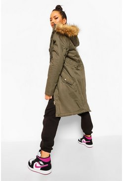Khaki Faux Fur Trim Parka