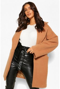 Camel beige Luxe Textured Wool Look Coat