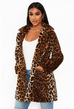 Brown Leopard Faux Fur Coat
