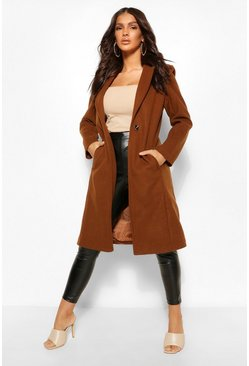 Chocolate brown Tailored Wool Look Coat