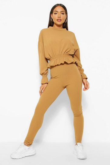 Camel beige Jersey Frill Peplum Hem Top and Legging Co-ord