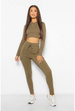 Khaki Rib Top and Utility Pocket Legging Co-Ord