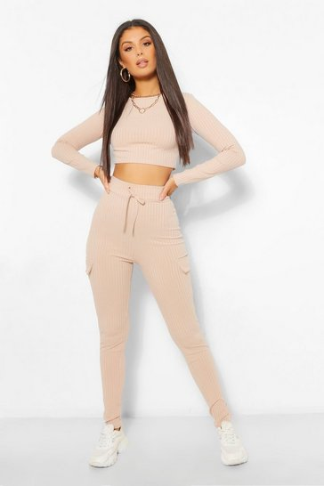 Stone beige Rib Top and Utility Pocket Legging Co-Ord