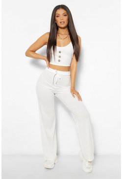 Ecru white Rib Button Cami Top and Trouser Co-ord Set