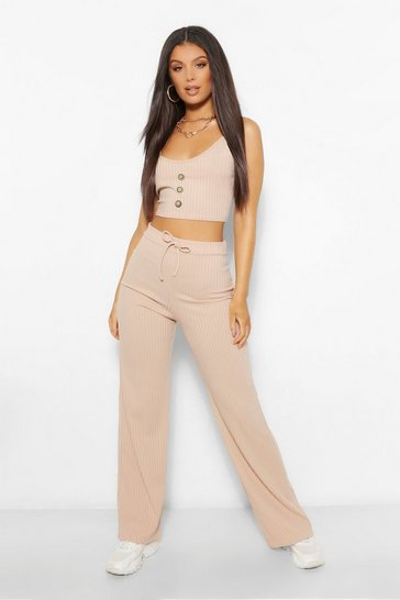 Stone beige Rib Button Cami Top and Trouser Co-ord Set