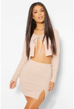 Stone beige Tie Front Rib Cardigan and Mini Skirt Co-ord Set
