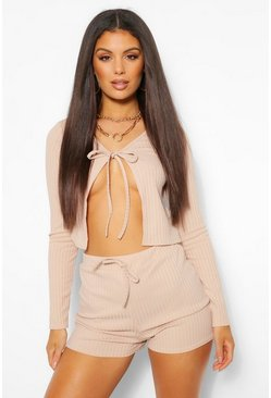 Blush pink Tie Front Rib Cardigan and Shorts Co-ord Set