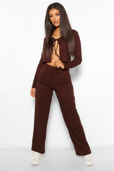 Chocolate brown Tie Front Rib Cardigan and Trouser Co-ord Set