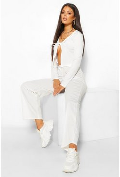 Ecru white Tie Front Rib Cardigan and Trouser Co-ord Set