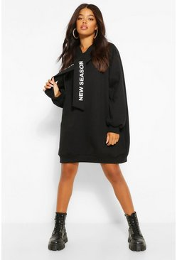 Black Hooded Slogan Tape Sweatshirt Dress