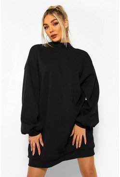 Black Balloon Sleeve Open Back Sweatshirt Dress