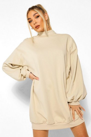 Nude Balloon Sleeve Open Back Sweatshirt Dress
