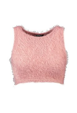 Rose Fluffy Knit Racer Front Crop Top