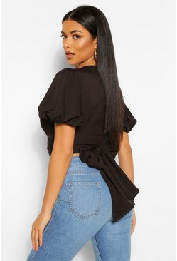Black Wrap Tie Back Puff Sleeve Woven Blouse