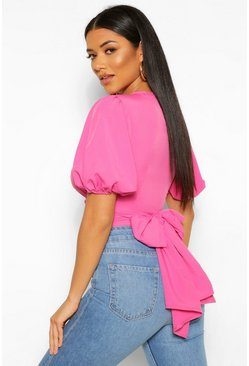 Hot pink pink Wrap Tie Back Puff Sleeve Woven Blouse