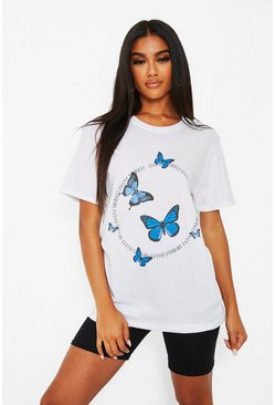White Butterfly Circle Slogon T-Shirt