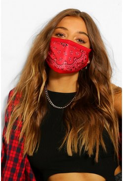 Red Paisley Fashion Face Mask