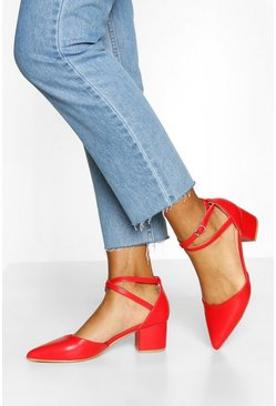 Red Cross Strap Block Heel Ballet Pumps