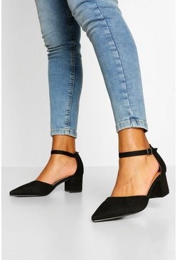 Block Heel Pointed toe Ballet Pumps, Black