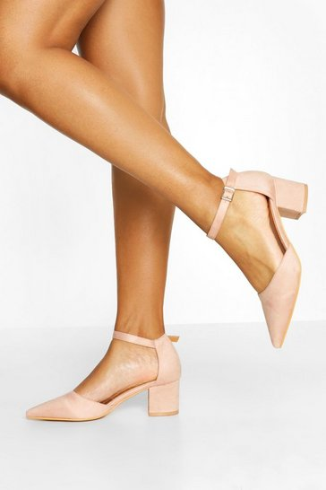 Pink Block Heel Pointed toe Ballet Pumps