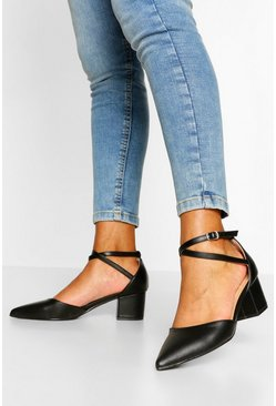 Black Cross Strap Block Heel Ballet Pumps
