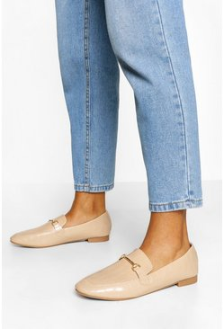 Beige Croc T-Bar Loafers