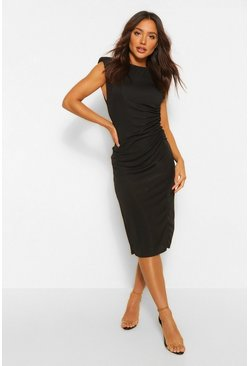 Black Shoulder Pad Rouched Rib Midi Dress