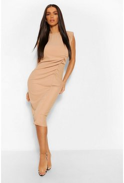 Camel Shoulder Pad Rouched Rib Midi Dress