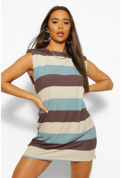 Blue Striped Shoulder Pad T-Shirt Dress