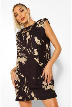 Black Marble Print Shoulder Pad T-Shirt Dress