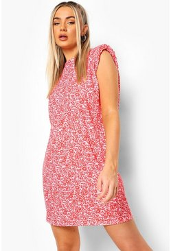 Pink Floral Shoulder Pad T-Shirt Dress