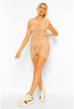 Stone beige Shoulder Pad Rouched Rib T-Shirt Dress