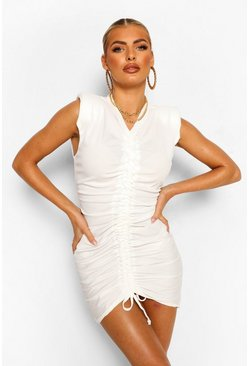 White Shoulder Pad Rouched Rib T-Shirt Dress