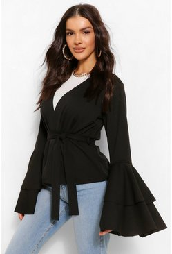 Black Tiered Sleeve Belted Kimono