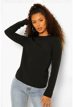 Black Woven Split Twist Back Blouse